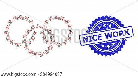 Nice Work Scratched Seal And Vector Fractal Collage Gears. Blue Seal Contains Nice Work Text Inside