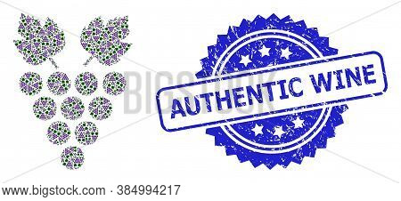 Authentic Wine Dirty Stamp Seal And Vector Fractal Mosaic Grape. Blue Stamp Has Authentic Wine Tag I
