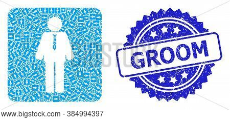 Groom Textured Seal And Vector Recursive Collage Groom. Blue Stamp Seal Contains Groom Tag Inside Ro