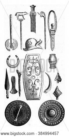 Gallic trophies. Vintage engraving. From Popular France, 1869.