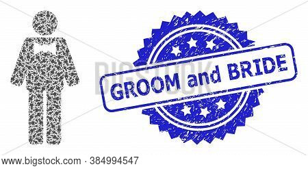 Groom And Bride Rubber Stamp And Vector Recursion Mosaic Groom. Blue Stamp Seal Has Groom And Bride
