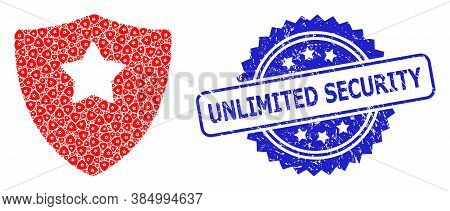 Unlimited Security Rubber Stamp Seal And Vector Recursion Collage Guard Shield. Blue Stamp Seal Incl