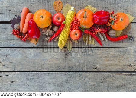 Autumn Background Set, Fallen Leaves, Fruits, Vegetables, Wooden Table. Seasonal Horizontal Set, Age