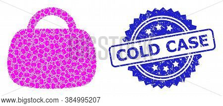 Cold Case Unclean Seal Imitation And Vector Fractal Mosaic Handbag. Blue Seal Has Cold Case Caption