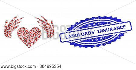 Landlords Insurance Rubber Stamp Seal And Vector Fractal Composition Handmade Love. Blue Stamp Seal