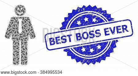 Best Boss Ever Corroded Stamp Seal And Vector Recursive Mosaic Happy Boss. Blue Stamp Seal Includes