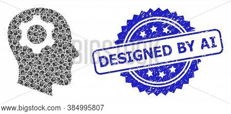 Designed By Ai Rubber Seal Imitation And Vector Recursive Collage Head Gear. Blue Stamp Seal Include
