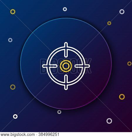 Line Target Sport Icon Isolated On Blue Background. Clean Target With Numbers For Shooting Range Or