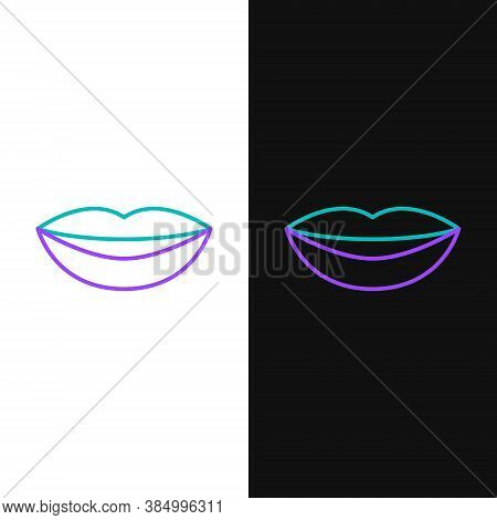 Line Smiling Lips Icon Isolated On White And Black Background. Smile Symbol. Colorful Outline Concep