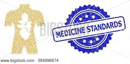 Medicine Standards Textured Stamp Seal And Vector Fractal Mosaic Human Anatomy. Blue Seal Has Medici