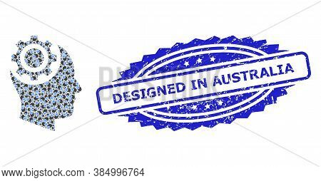 Designed In Australia Rubber Stamp Seal And Vector Fractal Mosaic Human Intellect Gear. Blue Stamp S