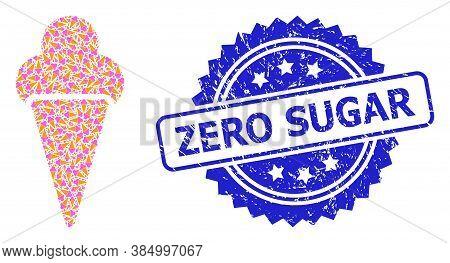 Zero Sugar Rubber Stamp Seal And Vector Recursive Collage Icecream. Blue Stamp Includes Zero Sugar C