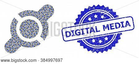 Digital Media Textured Seal Print And Vector Recursive Collage Joint Connection. Blue Stamp Seal Inc