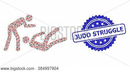 Judo Struggle Scratched Seal And Vector Recursion Collage Judo Struggle. Blue Stamp Seal Has Judo St