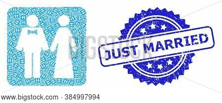 Just Married Grunge Stamp Seal And Vector Recursion Collage Just Married Persons. Blue Stamp Has Jus