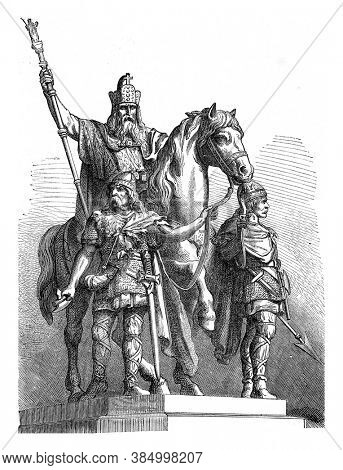 Equestrian statue of Charlemagne, Vintage engraving. From Popular France, 1869.