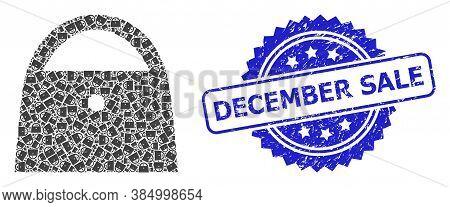 December Sale Unclean Stamp Seal And Vector Recursive Collage Lady Bag. Blue Seal Has December Sale