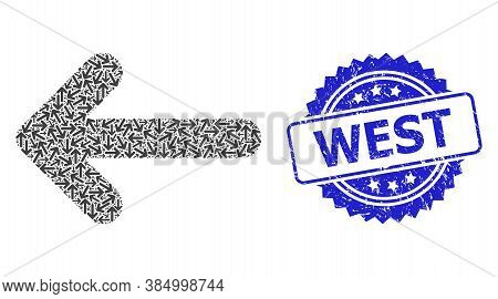 West Grunge Seal Imitation And Vector Recursion Mosaic Left Arrow. Blue Seal Contains West Caption I