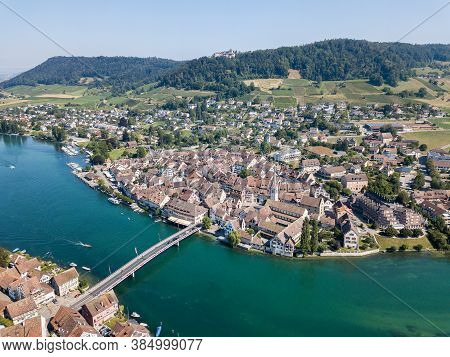 Aerial Image Of Swiss Old Town Stein Am Rhein - A Famous Tourist Destination In Switzerland