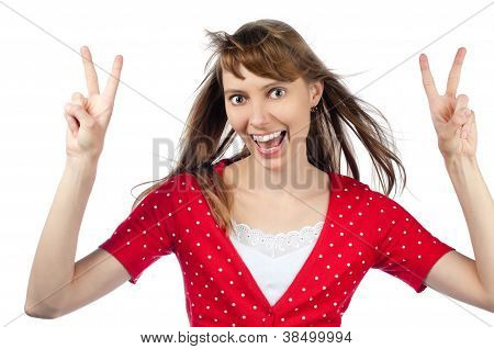 Beautiful Woman Making Victory Gesture