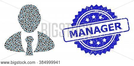 Manager Dirty Seal Imitation And Vector Recursive Mosaic Manager. Blue Stamp Seal Has Manager Text I