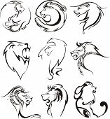Stylized lion heads. Set of black and white vector illustrations. poster