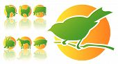 Abstract vector illustration of animal silhouettes in green and orange poster