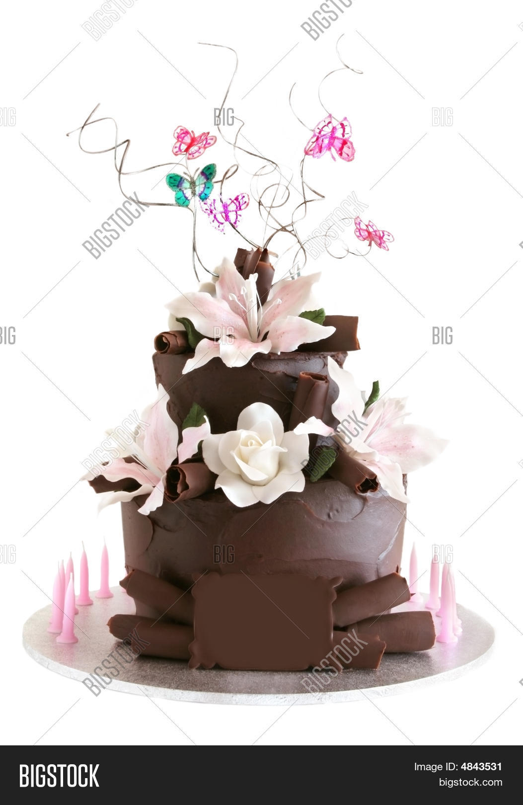 A Two Tiered Chocolate Cake With Flowers Butterflies And Candles Blank Plaque For Your Own Message