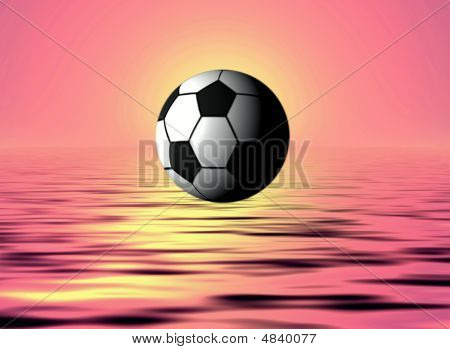 Landscape sunset on a sea with football poster