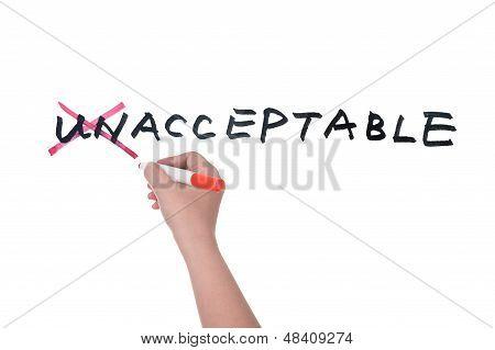 Unacceptable To Acceptable Concept
