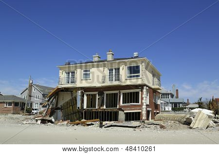 Destroyed beach house six months  after Hurricane Sandy