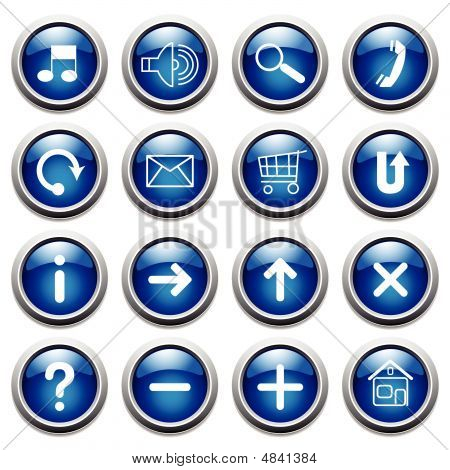 Vector Blue Buttons With Symbols