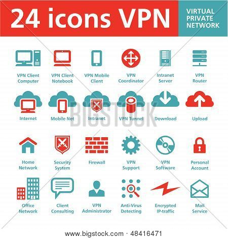 24 Vector Icons VPN (Virtual Private Network)