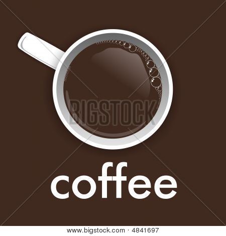 Cup of coffee illustration on dark brown background poster
