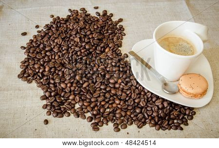 Hot Coffee With Beans