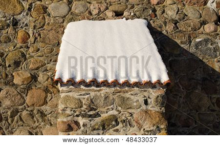 Retro Castle Stone Wall Clay Tile Roof Snow Winter
