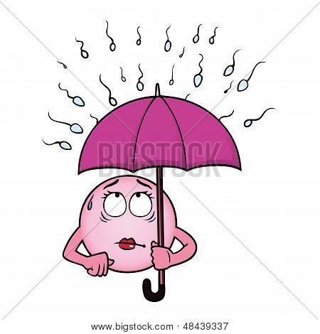 Egg cell holding umbrella against sperm cells