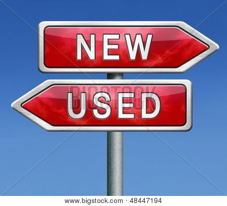 used or new latest or old second hand car or recycled product comparison before choice