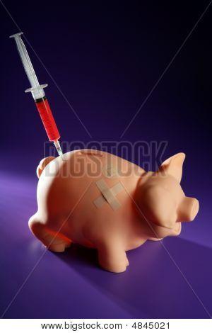 Piggy Bank With Syringe, Financial Metaphor