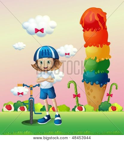 Illustration of a girl and her bike in the candyland