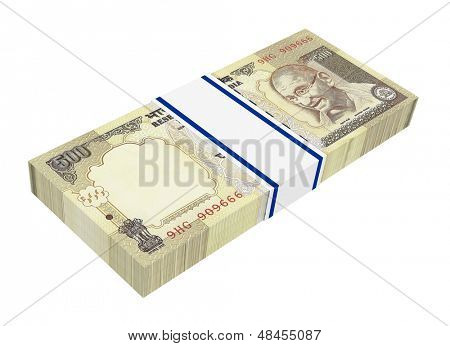 India Rupee isolated on white background. Computer generated 3D photo rendering.