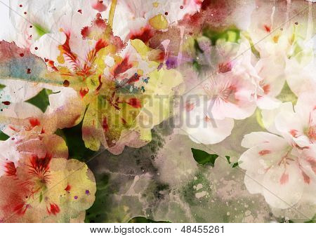 Watercolor painting mixed with flowers on textured paper