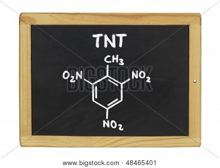 chemical formula of TNT on a blackboard