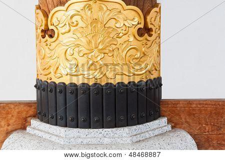 Metal Pattern In Japanese Temple Pillar