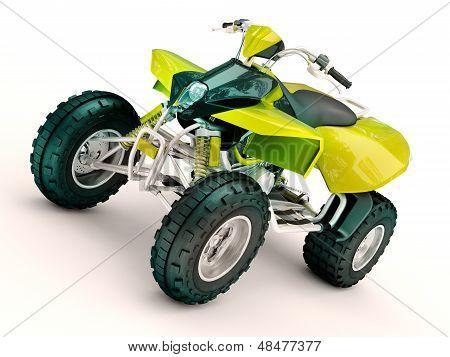 Sports quad bike on a light background poster