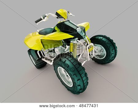 Sports quad bike on a grey background poster