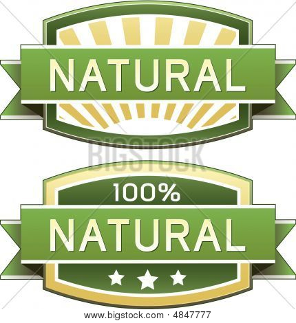 Natural food product and service label - vector packaging sticker good for print or web use poster