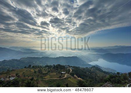 pokhara view from Sarangkot, Nepal, Asia