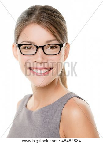 Glasses eyewear woman happy portrait looking at camera with big smile. Close up portrait of female business woman model face isolated on white background. Mixed race Asian Caucasian businesswoman. poster