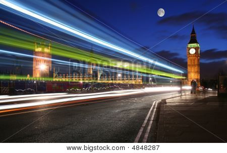 Traffic Through London Under The Moonlight